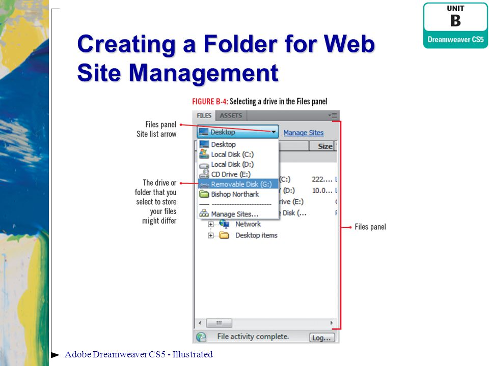 Creating a Folder for Web Site Management
