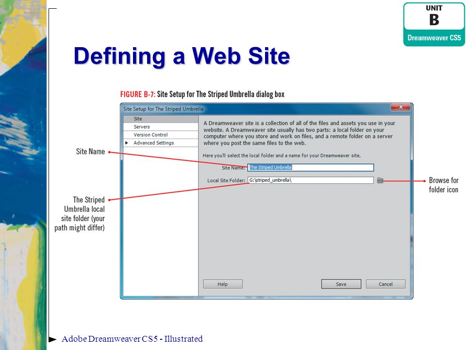 Defining a Web Site Adobe Dreamweaver CS5 - Illustrated