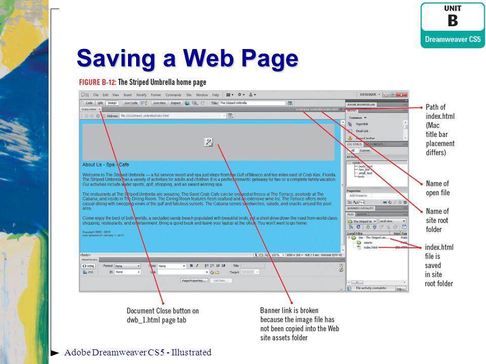 Saving a Web Page Adobe Dreamweaver CS5 - Illustrated
