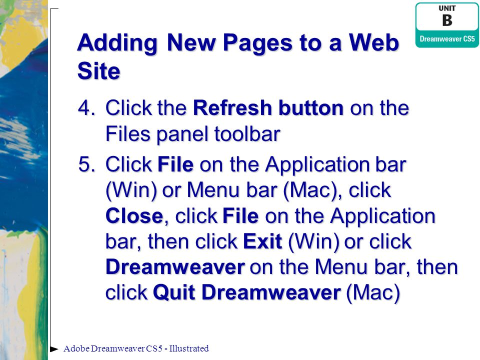 Adding New Pages to a Web Site