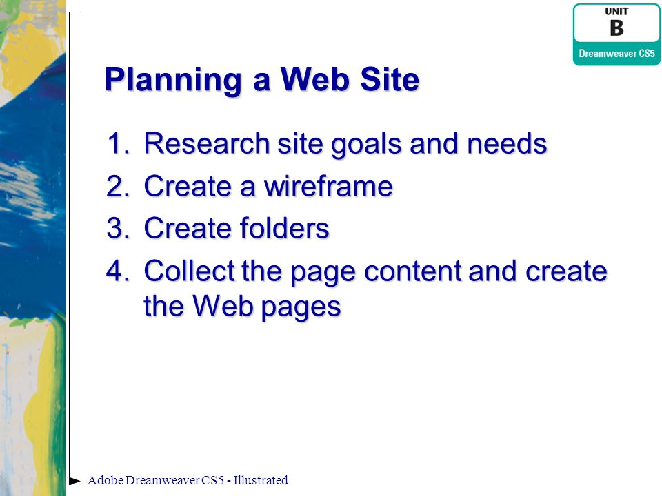 Planning a Web Site Research site goals and needs Create a wireframe