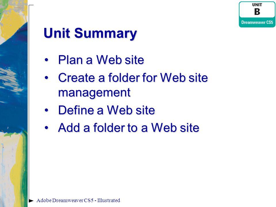 Unit Summary Plan a Web site Create a folder for Web site management