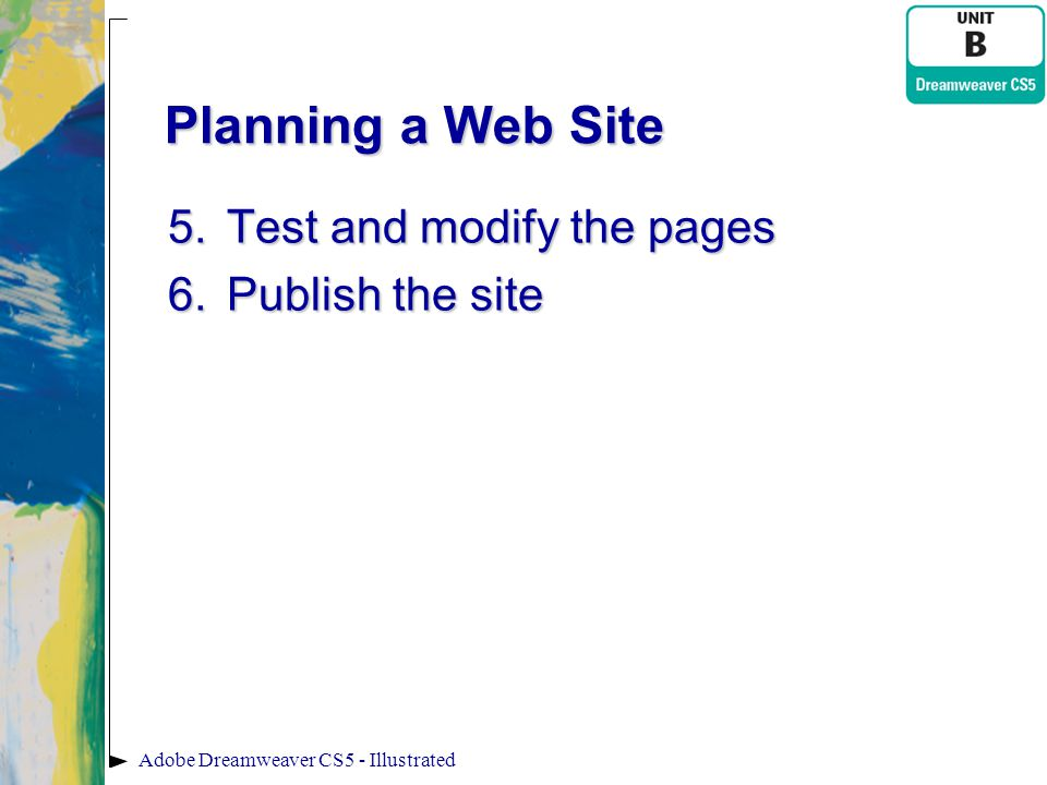 Planning a Web Site Test and modify the pages Publish the site
