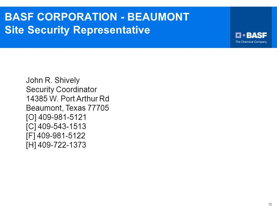 BASF CORPORATION - BEAUMONT Site Security Representative
