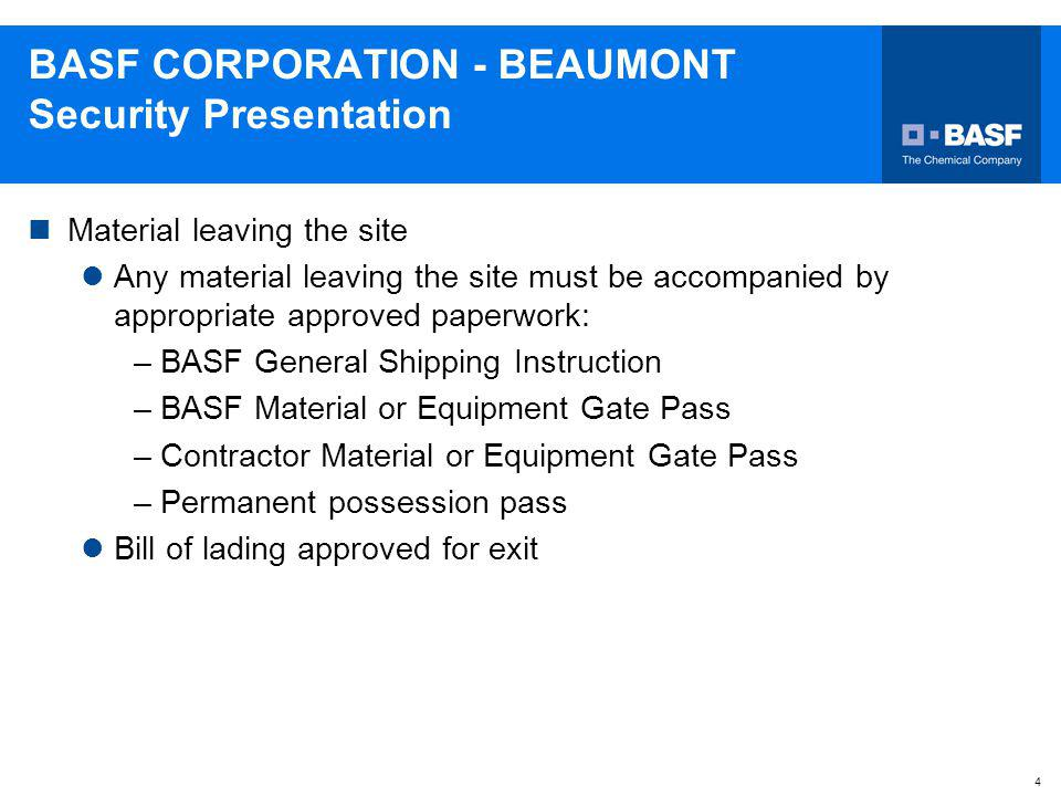 BASF CORPORATION - BEAUMONT Security Presentation
