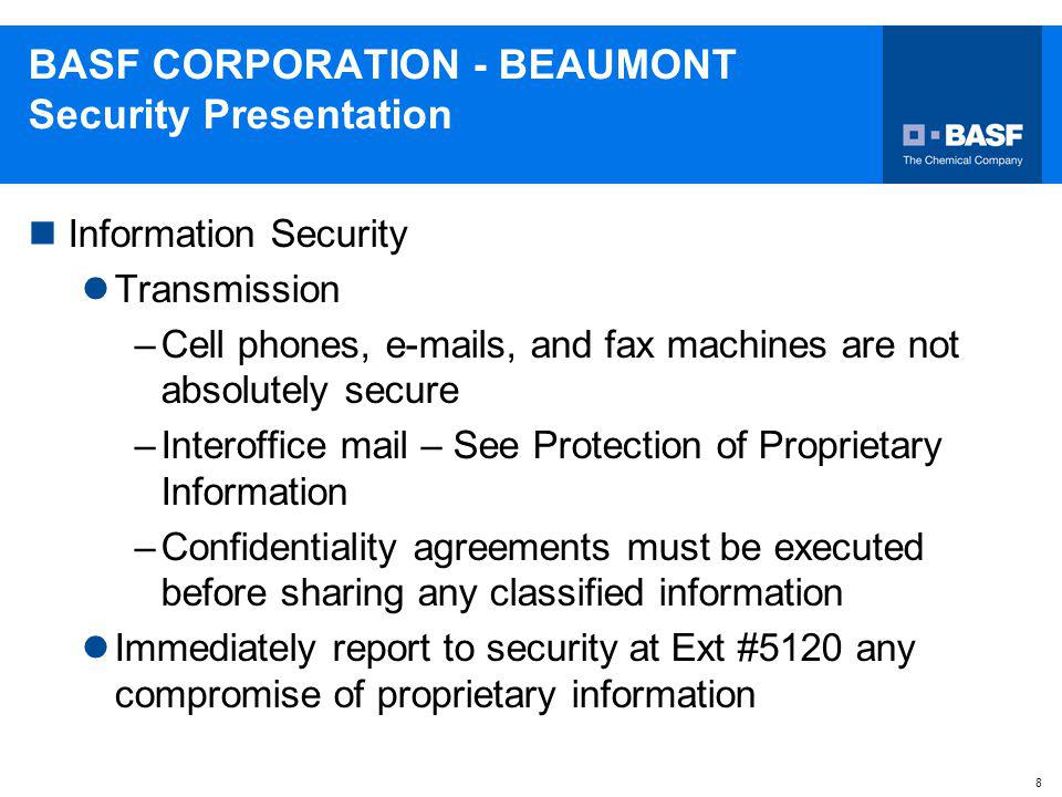 BASF CORPORATION - BEAUMONT Security Presentation