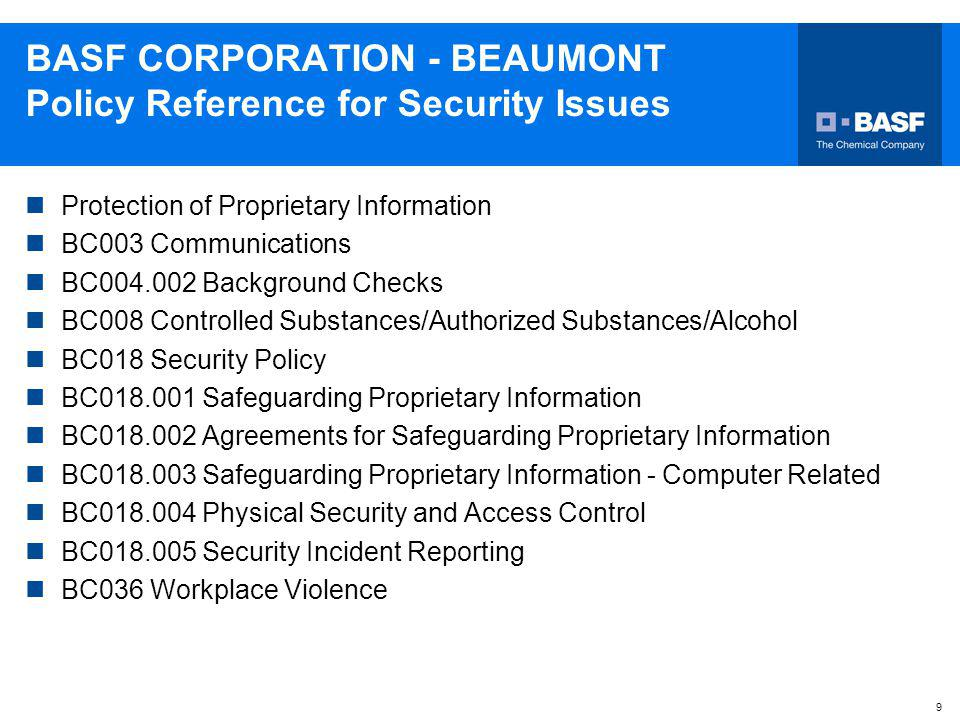 BASF CORPORATION - BEAUMONT Policy Reference for Security Issues