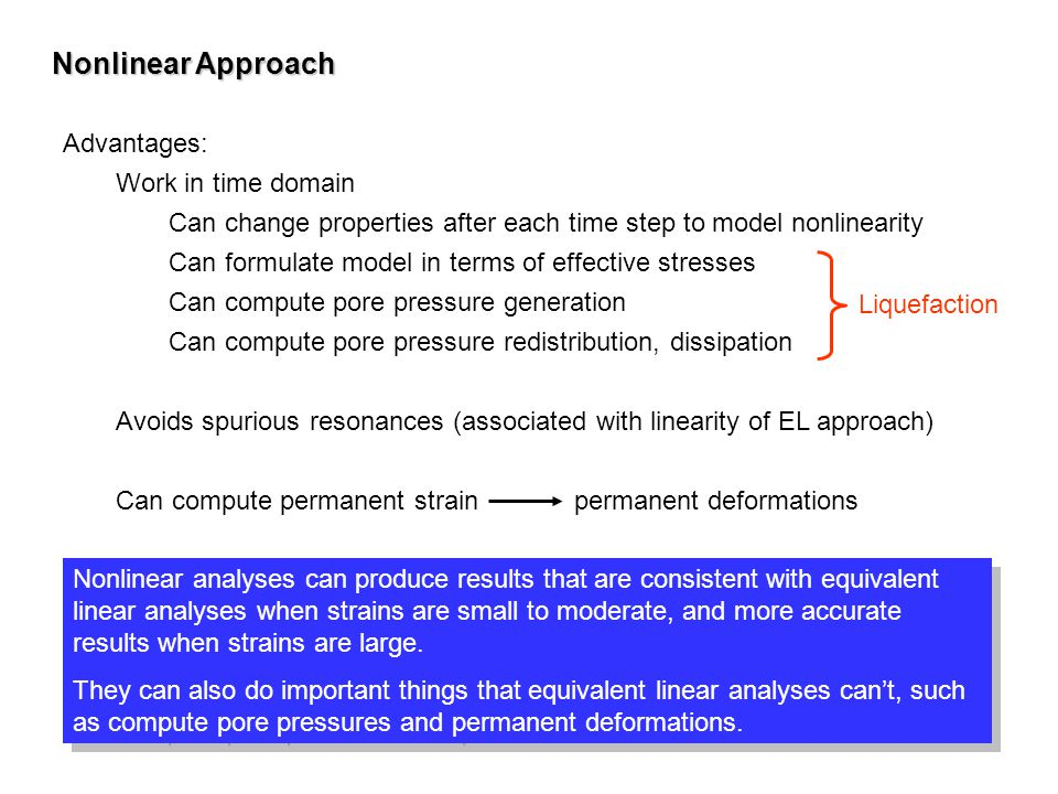 Nonlinear Approach Advantages: Work in time domain