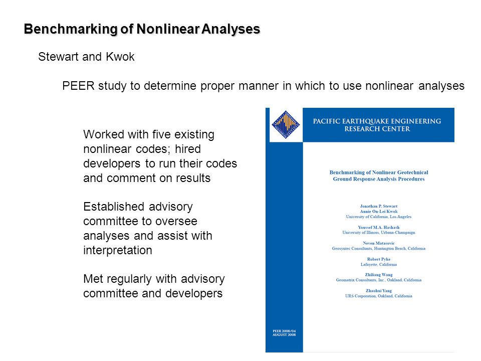 Benchmarking of Nonlinear Analyses