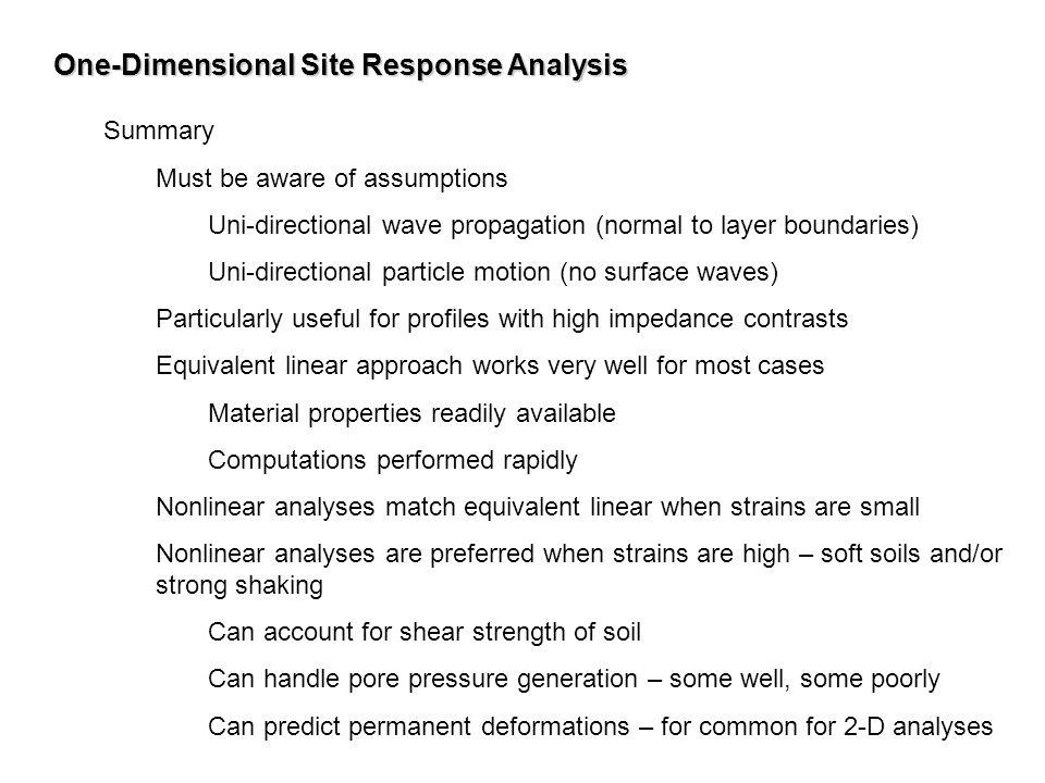 One-Dimensional Site Response Analysis