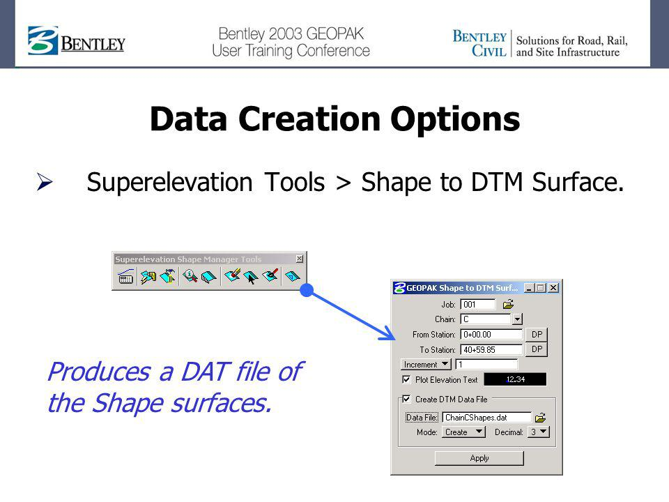 Data Creation Options Superelevation Tools > Shape to DTM Surface.