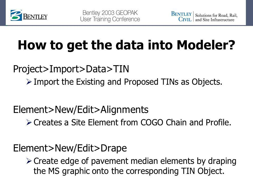 How to get the data into Modeler