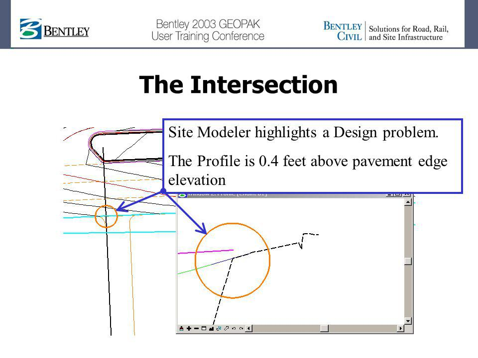 The Intersection Site Modeler highlights a Design problem.