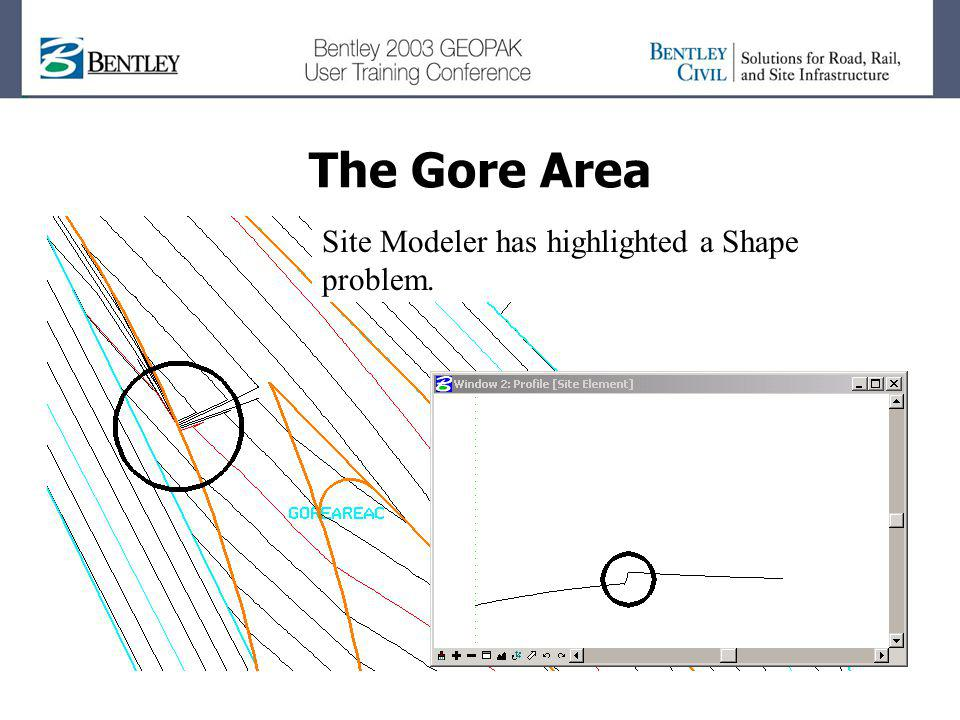 The Gore Area Site Modeler has highlighted a Shape problem.