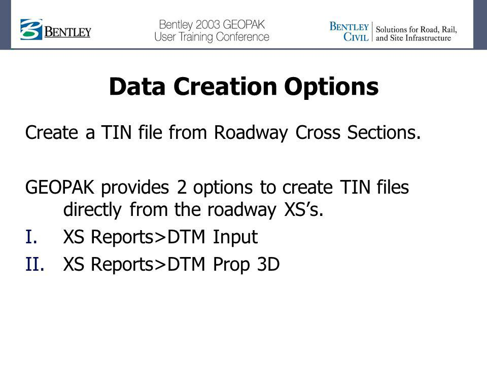 Data Creation Options Create a TIN file from Roadway Cross Sections.