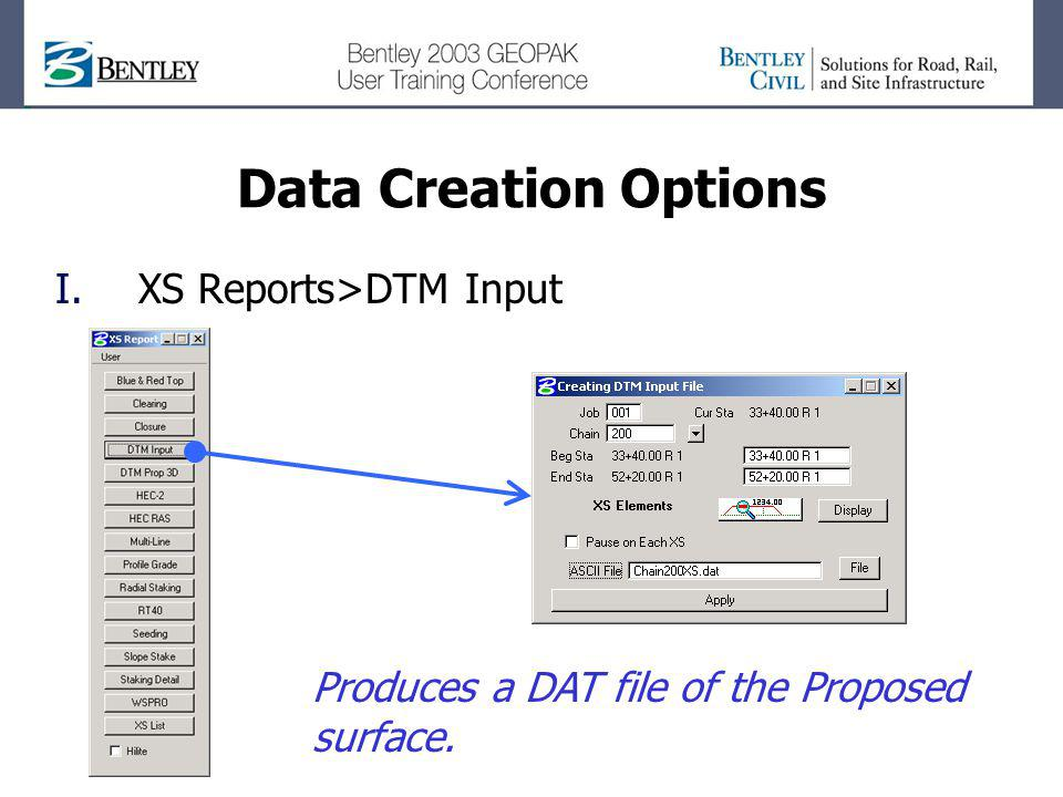 Data Creation Options XS Reports>DTM Input