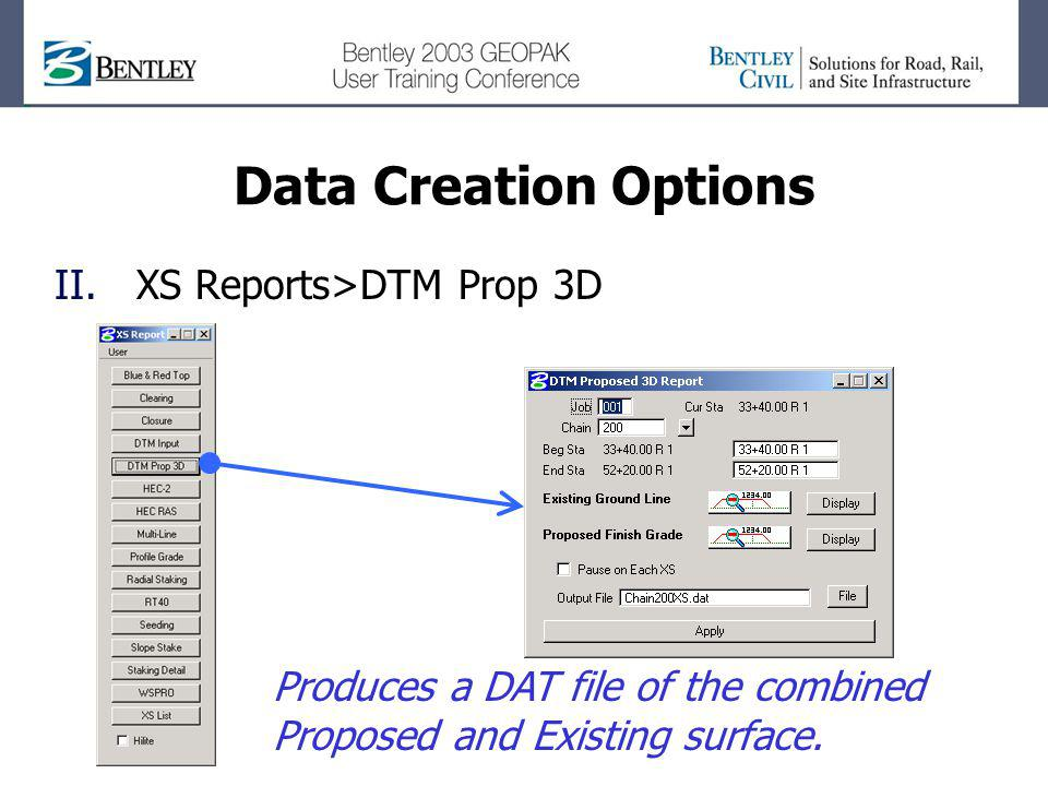 Data Creation Options XS Reports>DTM Prop 3D