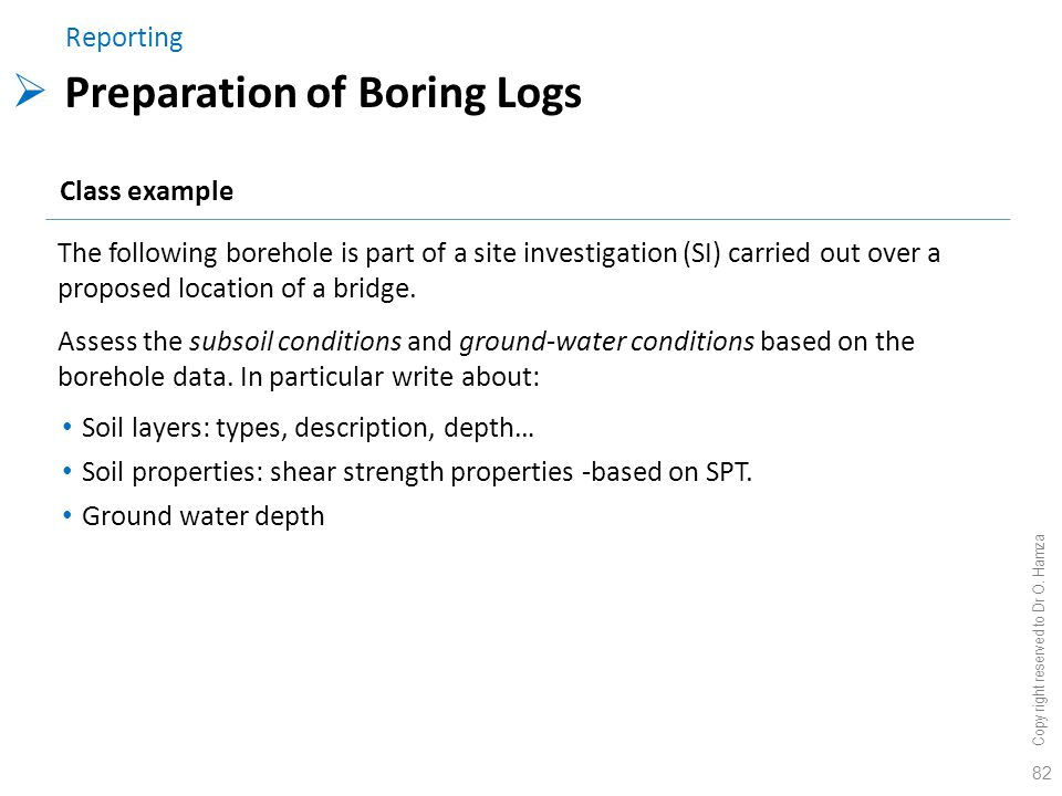 Preparation of Boring Logs