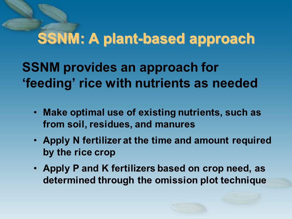 SSNM: A plant-based approach