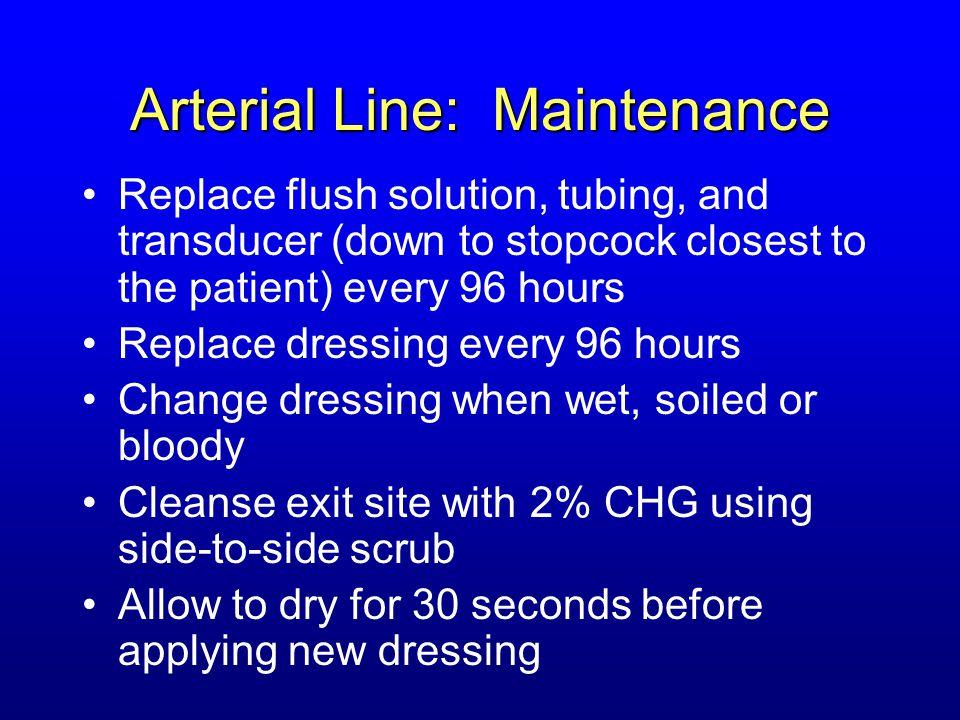 Arterial Line: Maintenance