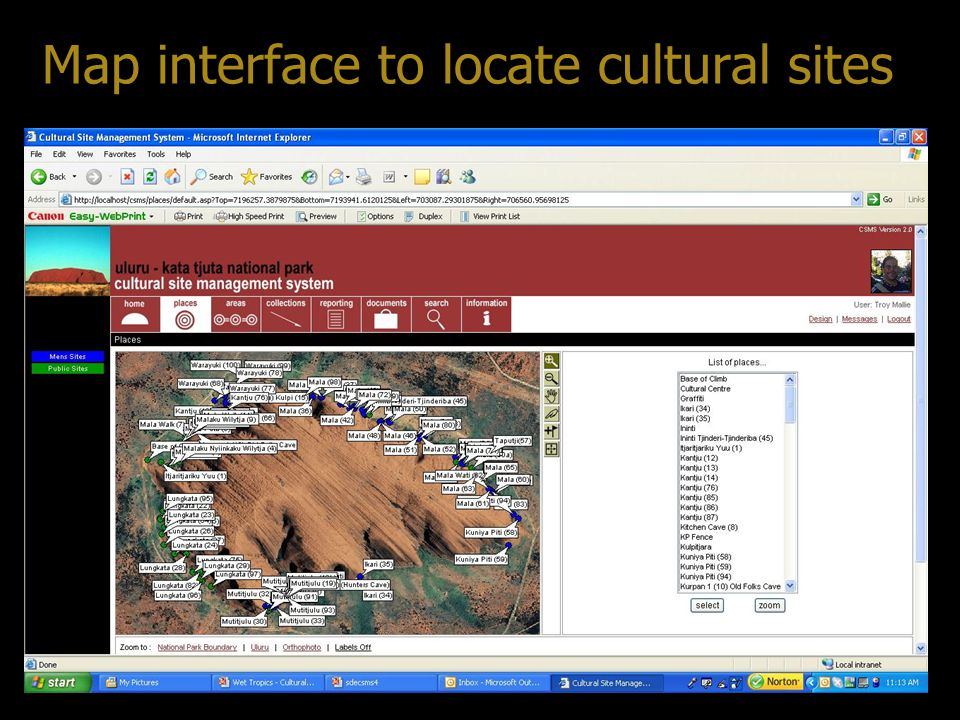 Map interface to locate cultural sites