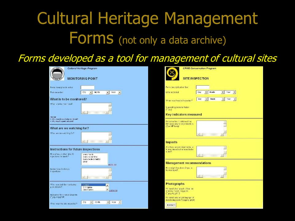 Cultural Heritage Management Forms (not only a data archive)