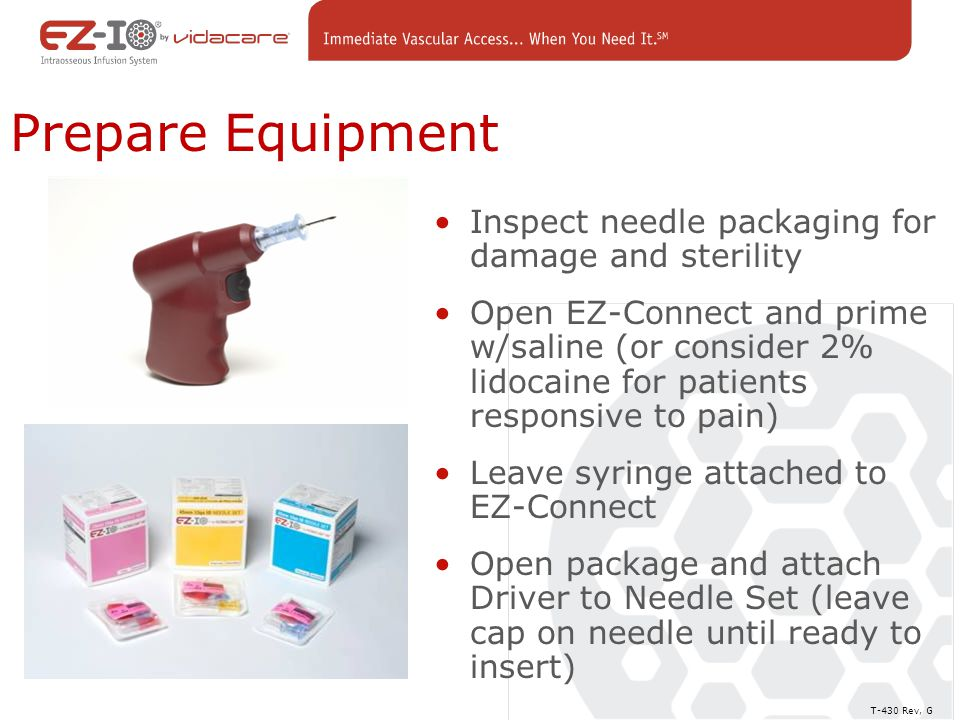 Prepare Equipment Inspect needle packaging for damage and sterility