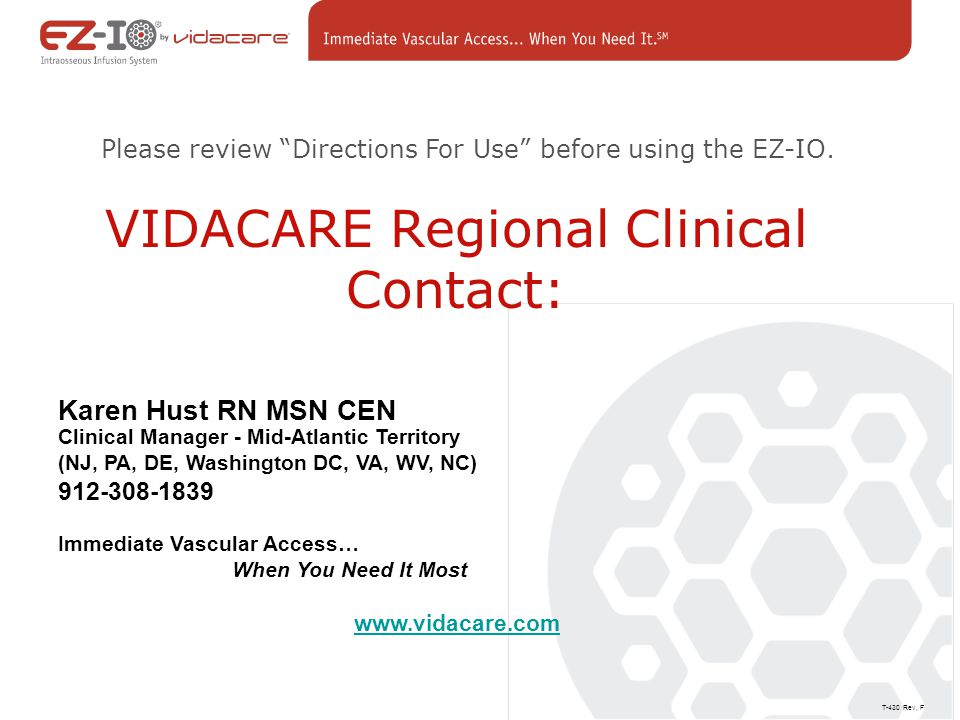 VIDACARE Regional Clinical Contact: