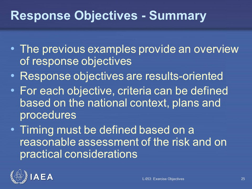 Response Objectives - Summary