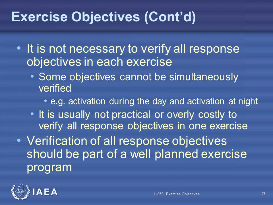 Exercise Objectives (Cont'd)