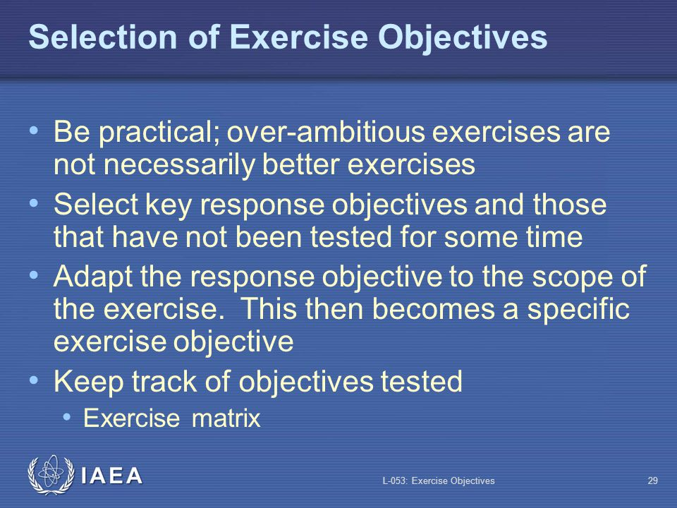 Selection of Exercise Objectives