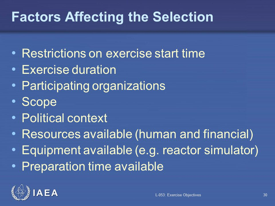 Factors Affecting the Selection