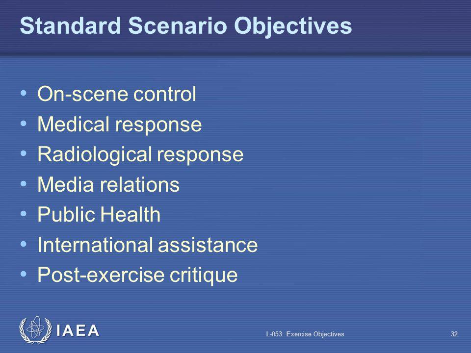 Standard Scenario Objectives