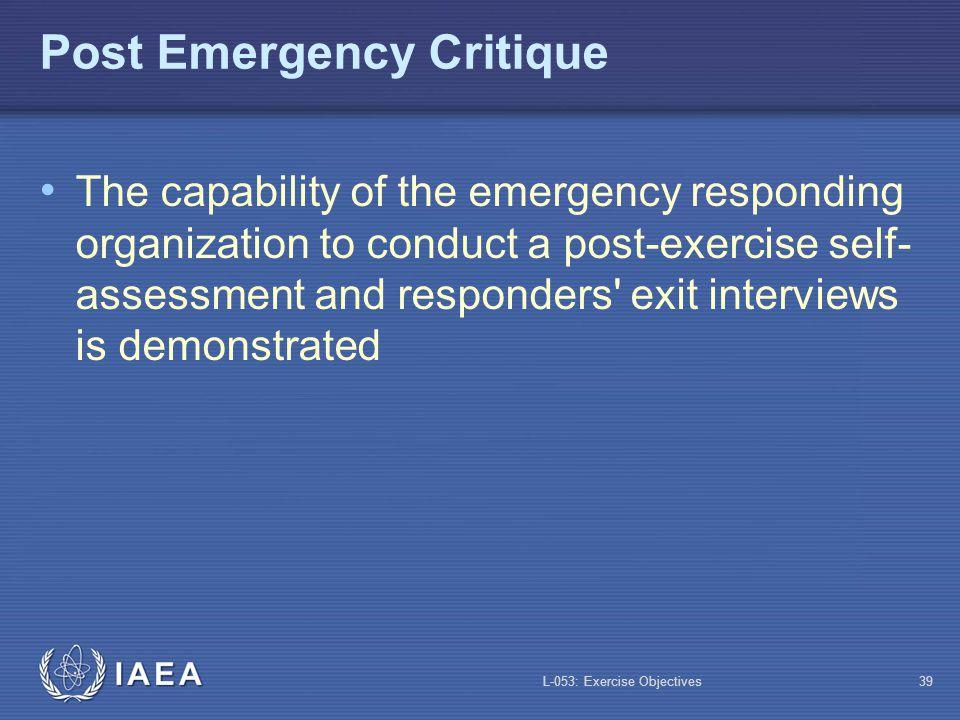 Post Emergency Critique