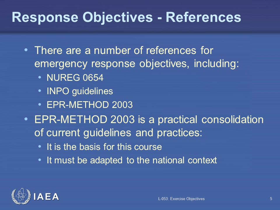 Response Objectives - References