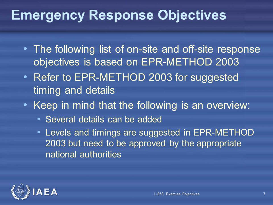 Emergency Response Objectives