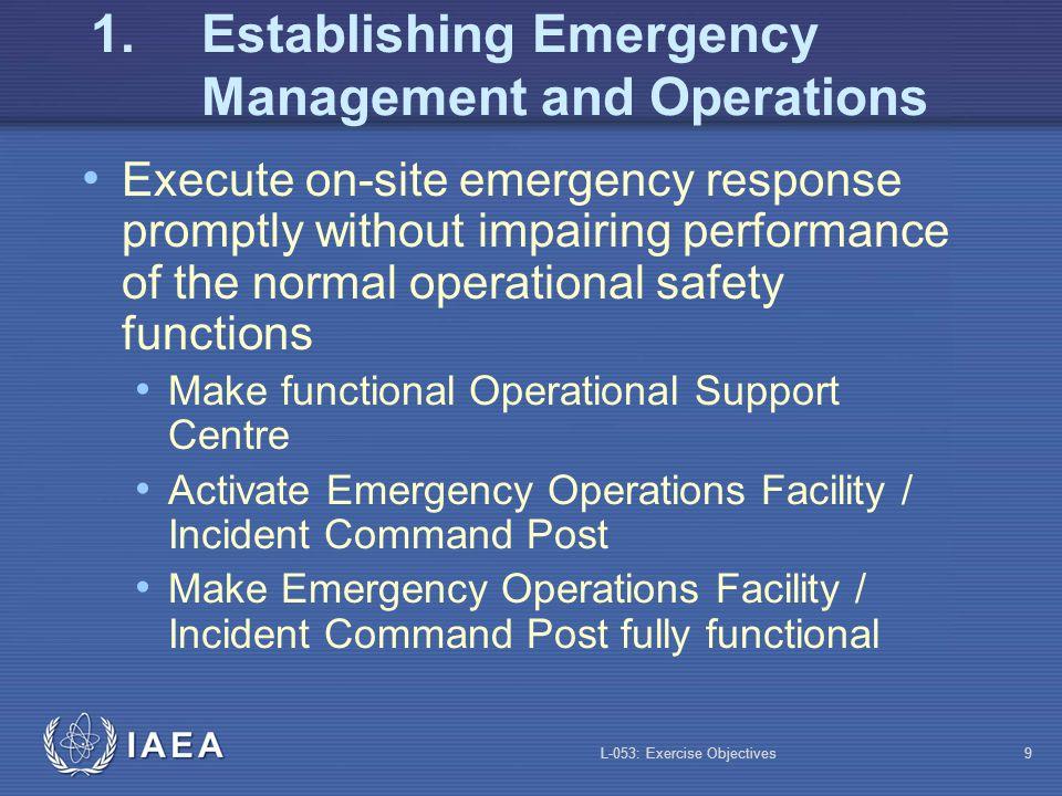1. Establishing Emergency Management and Operations