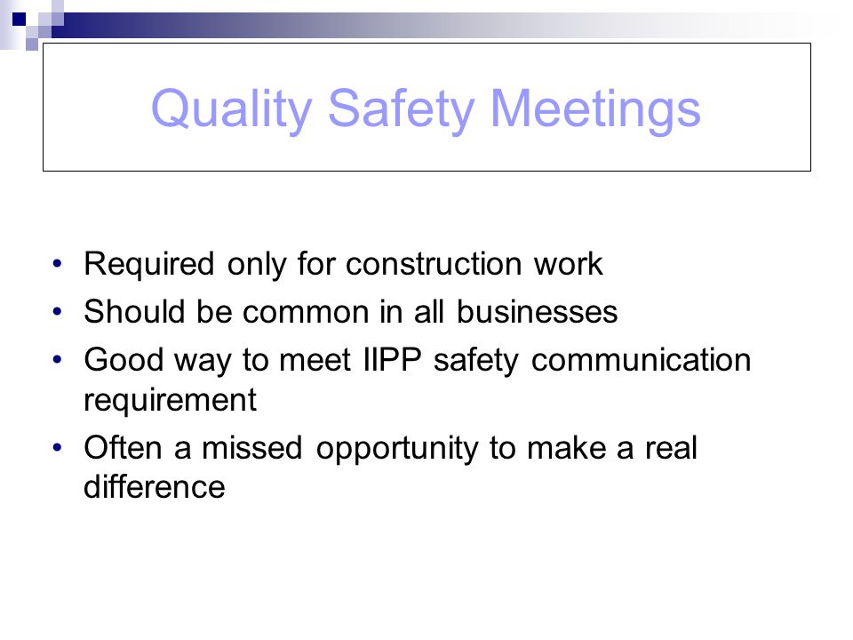 Quality Safety Meetings