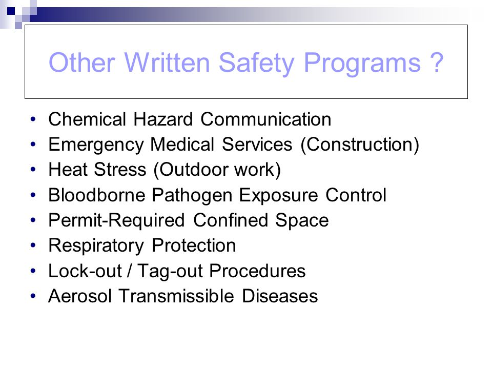 Other Written Safety Programs