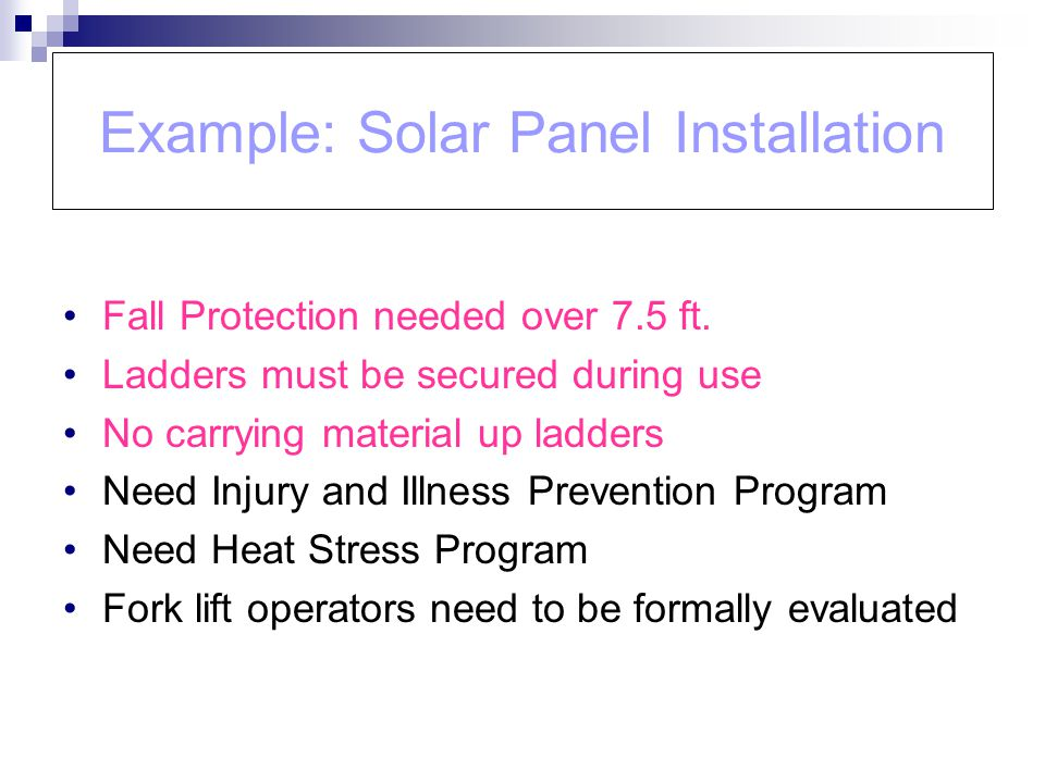Example: Solar Panel Installation