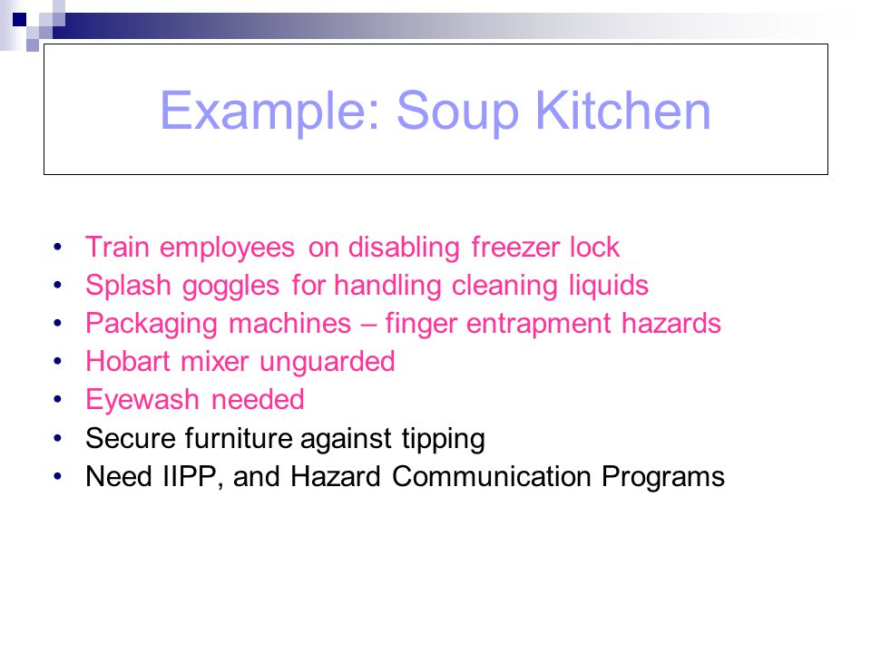 Example: Soup Kitchen Train employees on disabling freezer lock