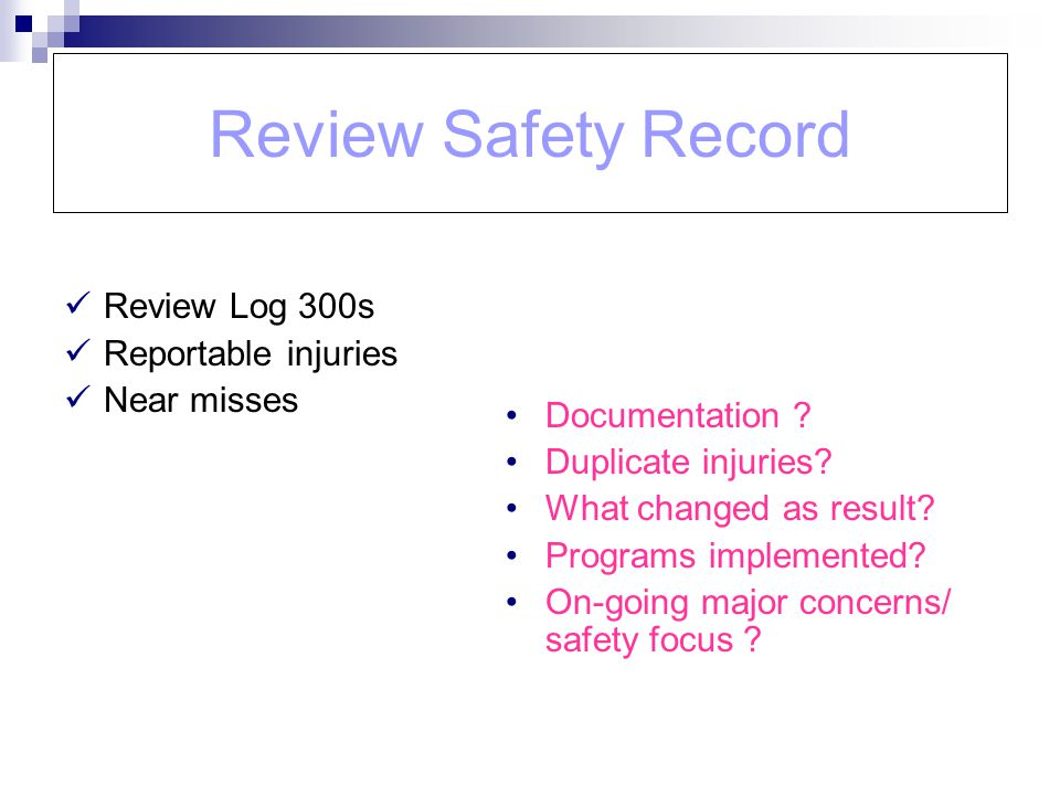 Review Safety Record Review Log 300s Reportable injuries Near misses