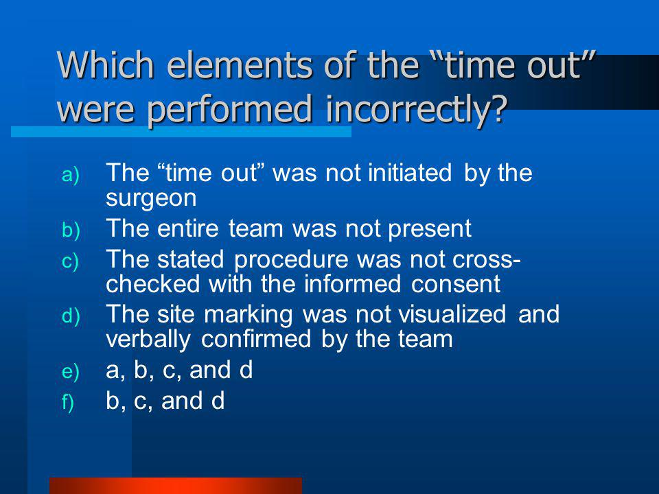 Which elements of the time out were performed incorrectly