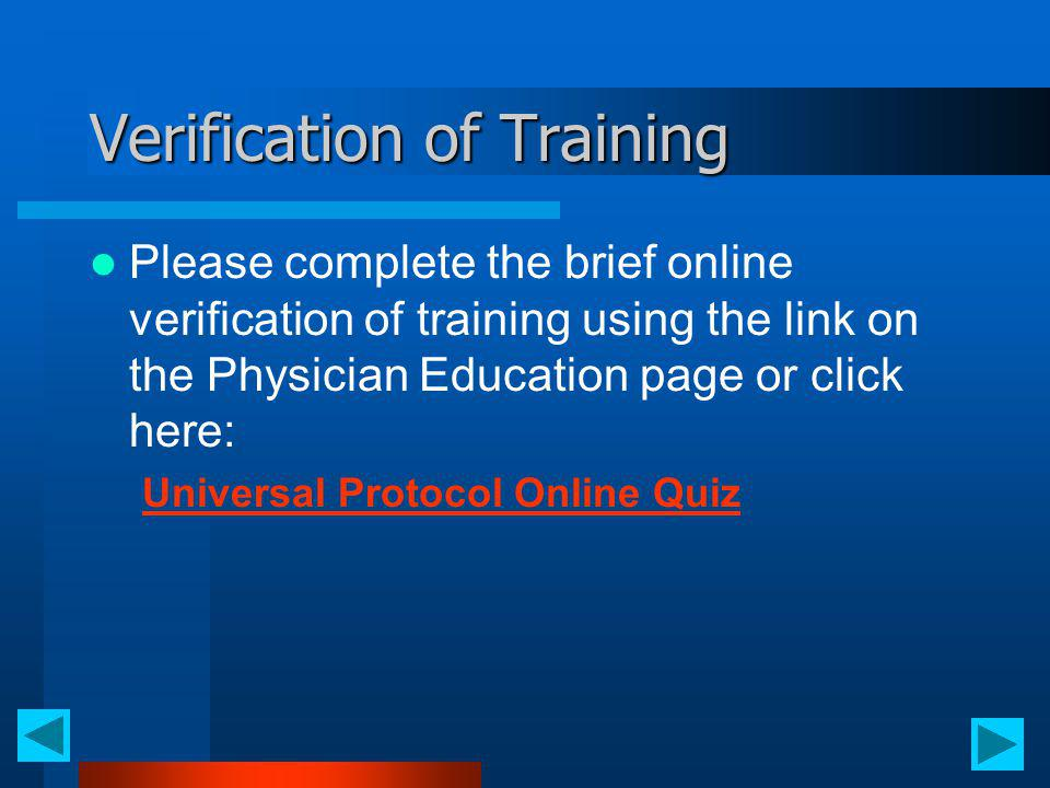 Verification of Training