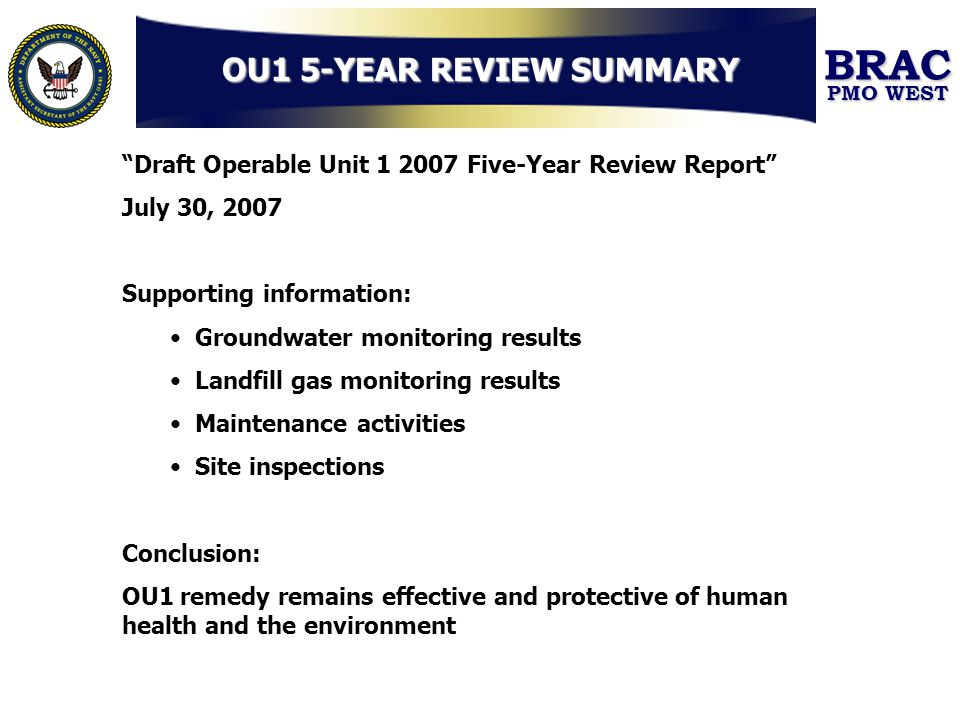 OU1 5-YEAR REVIEW SUMMARY
