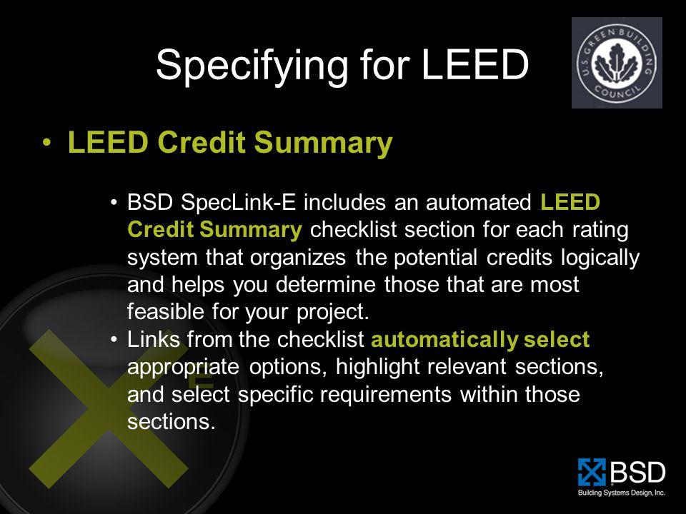 Specifying for LEED LEED Credit Summary