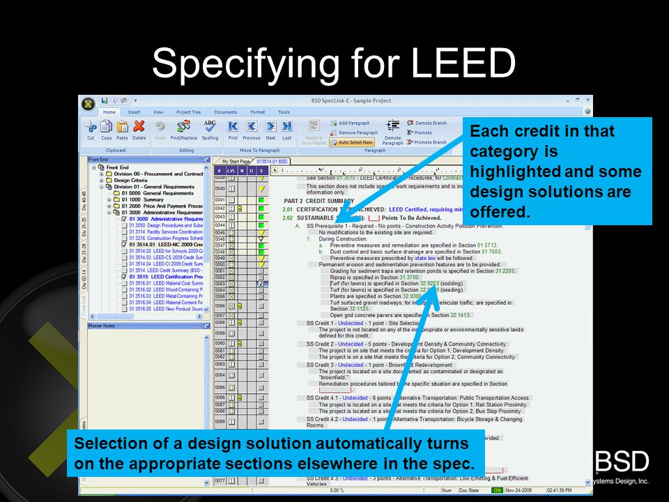 Specifying for LEED Each credit in that category is highlighted and some design solutions are offered.