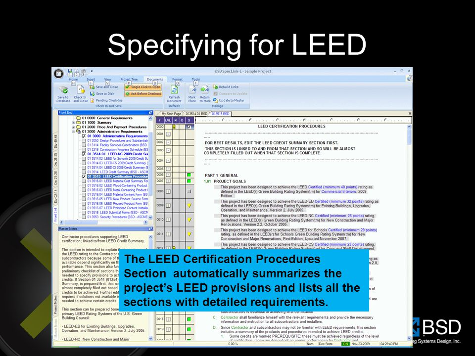 Specifying for LEED