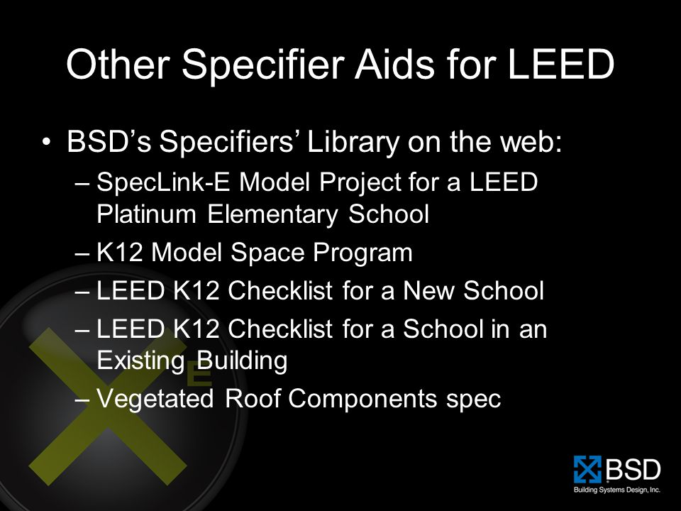 Other Specifier Aids for LEED