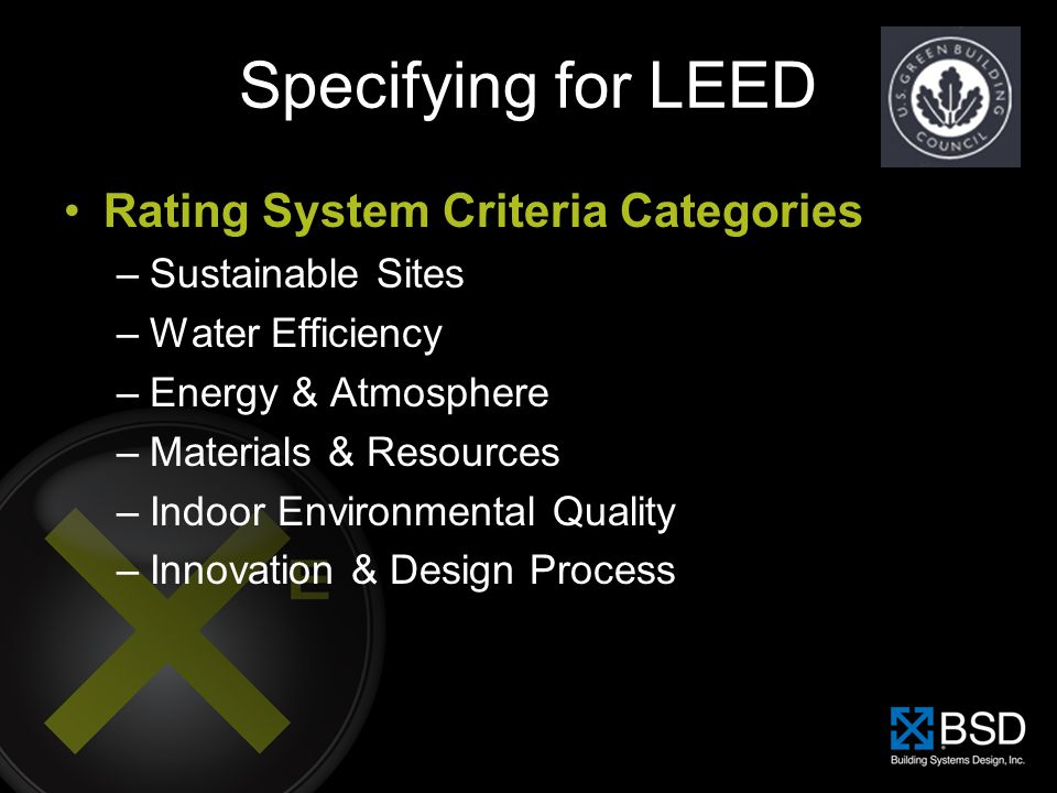 Specifying for LEED Rating System Criteria Categories